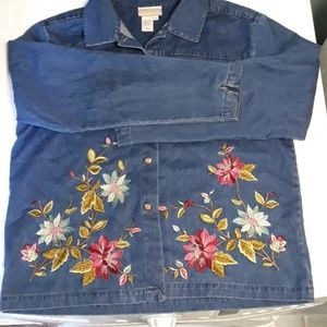 Embroidered Coldwater Creek Jean Jacket